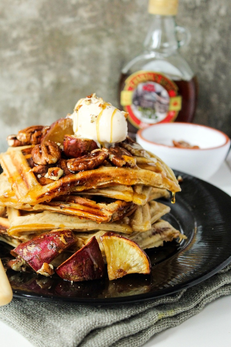 Sweet potato, maple and pecan nut waffles. – Off Beet Blog