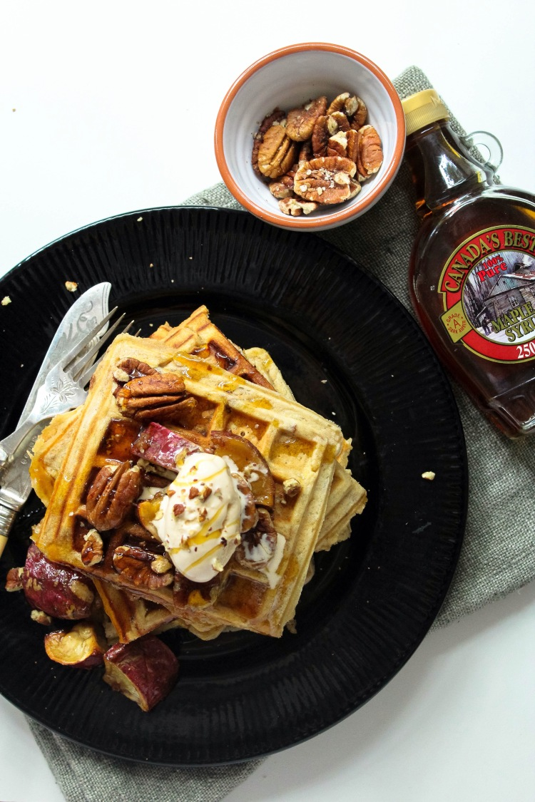 Sweet potato, maple and pecan nut waffles. – Off Beet Blog